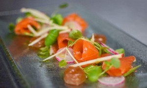 dans-sloe-gin-cured-sea-trout-burnt-apple-puree-watercress-and-radish-salad