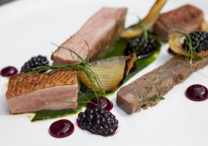 Duck with blackberries